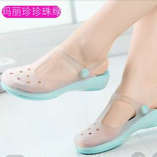 Mary jane rubber flat shoes- pale jade green color
