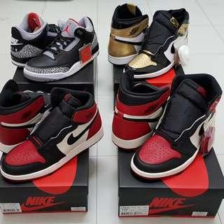 (Feb Best Released) Air Jordan 1 Retro QS Gold Toe & Bred Toe & Jordan 3 Retro Black Cement QS