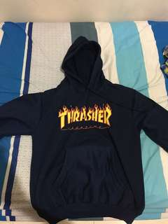hoodie thrasher logo flame navy