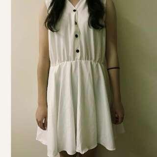 🚚 日系白洋裝 顯瘦鬆緊腰身 #女裝半價拉