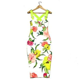 TED BAKER midi Floral Bodycon Dress
