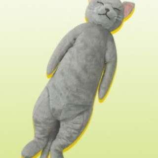 [日本景品] JAMMA FANS 日版 灰貓 晚安喵 睡覺 療癒 抱枕 65公分 布偶 娃娃 單售 現貨一隻灰貓