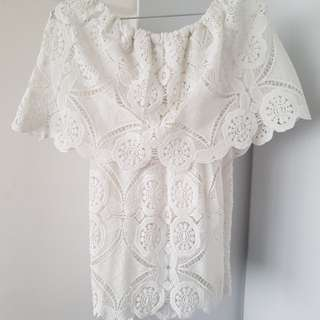 Off shoulder white lace top