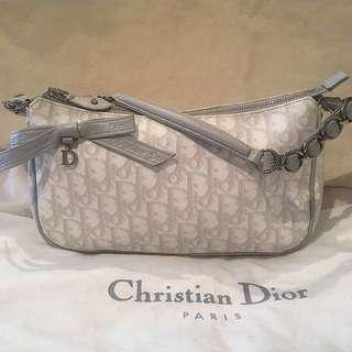 Authentic CHRISTIAN DIOR Beige Coated Canvas Romantique Pochette Bag