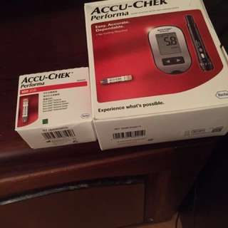 Accu Chek glucometer with lancing device and 100 stripsFixed price please