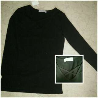 black cross long sleeve top