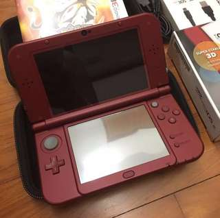 Nintendo 3DS XL (New Red) + Pokémon Sun Game + Accessories included