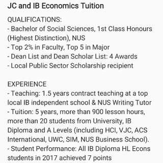 IB and JC Economics Tuition