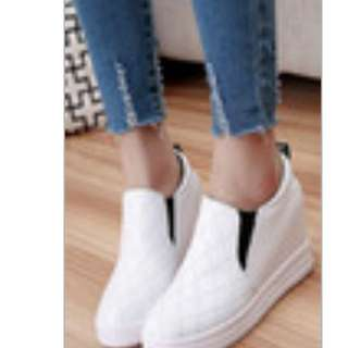 White Leather Round Toe Wedges Rubber Shoes