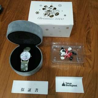BNIB! Limited Edition Official Tokyo Disneyland Mickey and Minnie Christmas 2000 Watch (only 500 ever released)