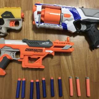 Nerf Gun Set : Includes 7 Elite Bullets(blue), 3 Accustrike Bullets, strongarm Gun, Accustrike Gun and Nerf Pistol