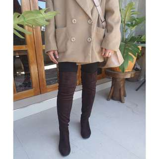 Brown Wedge Thigh High Boots