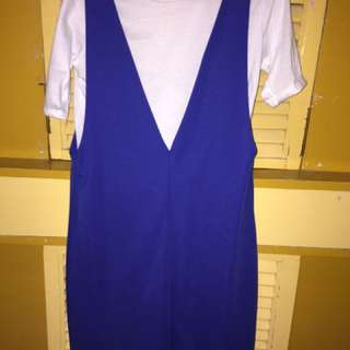 Blue dress with plain white shirt