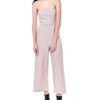 pink striped tube jumpsuit