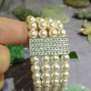 【●】日本■真珠施華洛世奇水晶手鍊