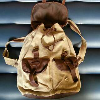 ASOS Bagpack Cream Canvas Leather Mix