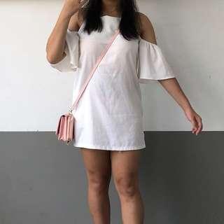 ❕Instocks❕White Cold Shoulder Dress