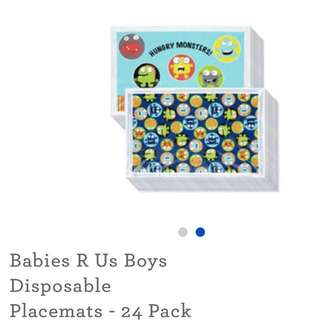 Babies RUs disposable placemat 24pc boys