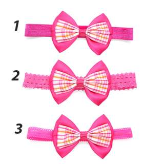 Handmade Korean Style British Grid Checker Virtual Pink Hair Bow Elastic Headband