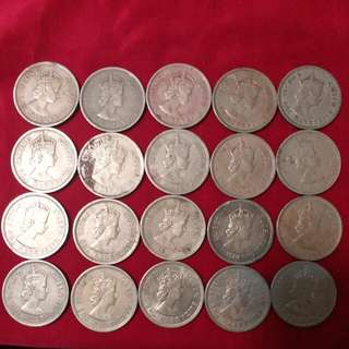 香港 英女皇 佐治六世 硬幣 共80個
