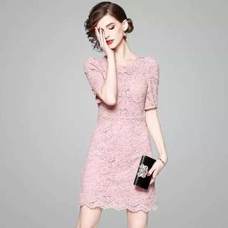 Bodycon back bow tie button above the knee pink lace dress
