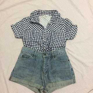 White and Blue Checkered Polo