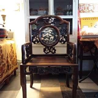 Oriental hardwood armchair