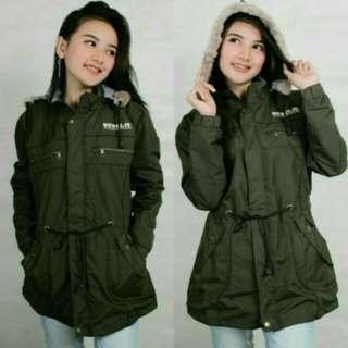 3R/jaket parasit taslan hoodie bulu/cewe/ijo army