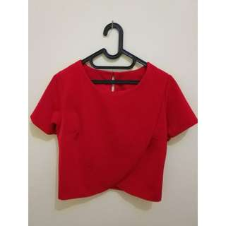 Red tulip crop top