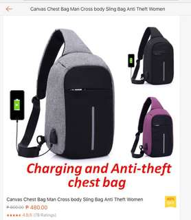 Charging and anti theft bag - Black