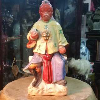 Republic China Ceramic Chow Chew Porcelain Monkey King.民国期间潮州彩瓷齐天大圣像。