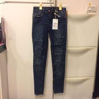 ZARA 深色刷破牛仔褲 skinny Z1975 原價1290