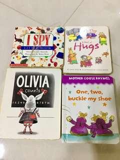 4 Board books bundle: I Spy, A book of Hugs, Olivia, One Two Buckle my Shoe