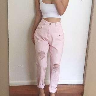 HIGH QUALITY - Pastel pink boyfriend jeans
