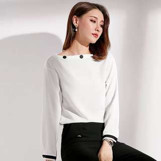 boat neck button white blouse Shirt TOP