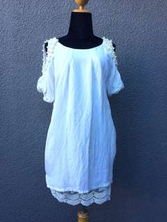 Cold shoulder white dress