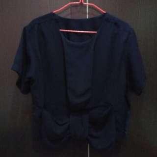 Baju crop/Atasan crop navy