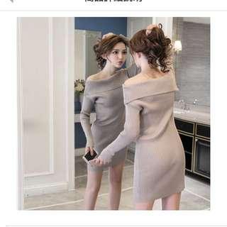 韓國風一字領露肩針織衫夜店性感毛衣長袖洋裝