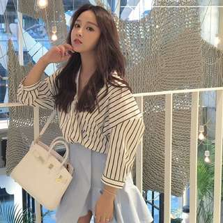 [PO] Uzzlang V-Neck Striped Blouse