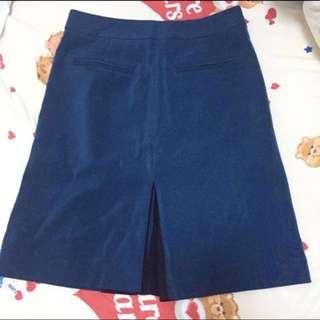 Double step dark sea blue skirt long dress
