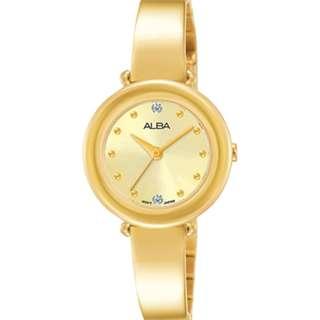 Alba Ladies AH8352X1 Jam Tangan Wanita AH8352X1 Gold Solid Stainless AH8352X