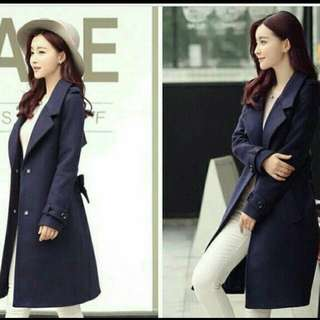 Blazer aqella long navy coat korea