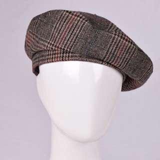 (私物)格紋有邊貝蕾帽