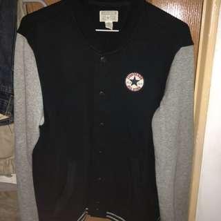 二手美品 converson 棒球外套 內刷毛 深藍色x灰色 S號