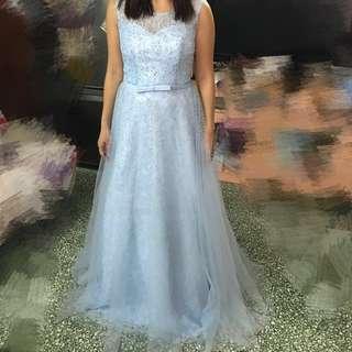 100%全新 藍色女裝新娘晚裝 姊妹 伴娘 晚宴裙  只穿過一次為此圖