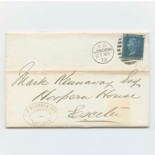 "Rare Great Britain 2d Penny Blue ""CI'' 1872 Cover Envelope From London To Exeter UK Postal Philatelic"