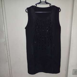 Black Dress With Front Embellishment - FREE SHIPPING