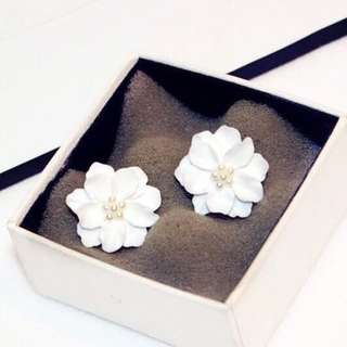 Big White Flower Earrings