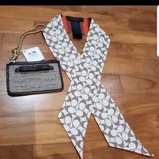 100% Silk Coach twilly scarf/ bandeau and wristlet cardholder