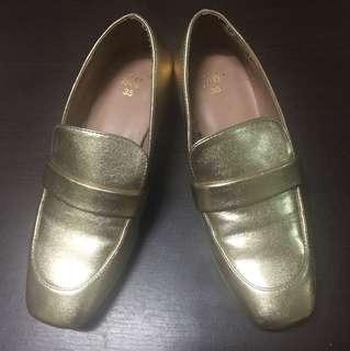 H&M Gold Heeled Loafers